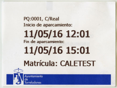 Ticket aparcamiento regulado
